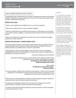 GUÍA DE CORRECCIÓN-ApOyO pARA LA pOSTAL