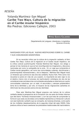 RESEÑA Yolanda Martínez-San Miguel Caribe Two Ways. Cultura