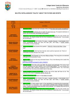 2º ESO - Paleta sobre el futuro y el deporte _U5_ in English y en