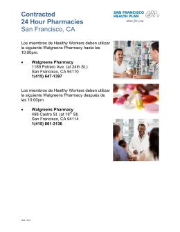 Contracted 24 Hour Pharmacies San Francisco, CA
