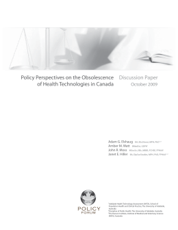 Policy Perspectives on the Obsolescence of Health Technologies in