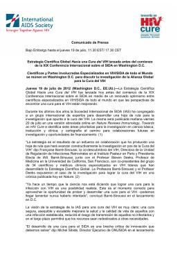 17.30 CET Estrategia Científica Global Hacia una Cura