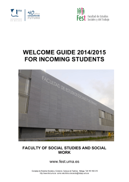 WELCOME GUIDE 2014/2015 FOR INCOMING STUDENTS