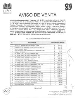 AVISO DE VENTA - Impresora y Encuadernadora Progreso