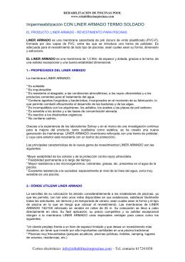 Impermeabilización LINER ARMADO CARACTERÍSTICAS