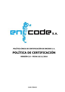 POLÍTICA DE CERTIFICACIÓN