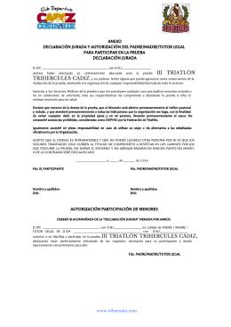 ANEXO DECLARACIÓN JURADA Y AUTORIZACIÓN DEL PADRE