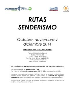 RUTAS SENDERISMO Octubre, noviembre y diciembre