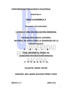 Vocabulario nauatl-español material de apoyo para la enseñanza