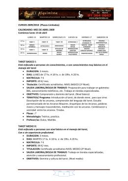 CURSOS 2009/2010 (Plazas Limitadas) CALENDARIO: MES DE