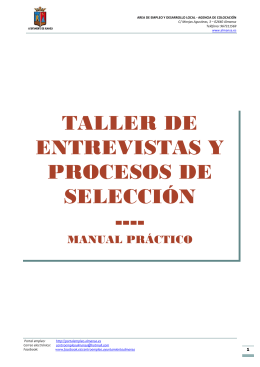 Taller de entrevistas y procesos de selección, manual práctico