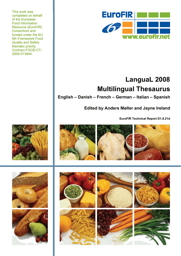 3 langual 2008 multilingual thesaurus for Cuisine thesaurus