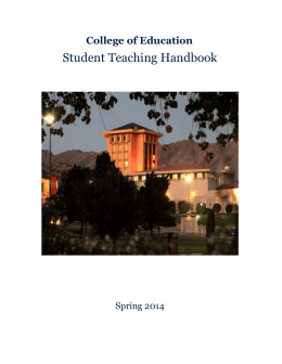 Student Teaching Handbook - The College of Education