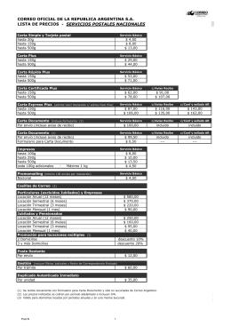 Lista de Precios - Correo Argentino
