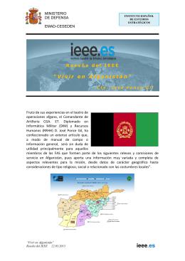 """""""Vivir en Afganistán"""". Reseña del IEEE. 22.03.2013"""