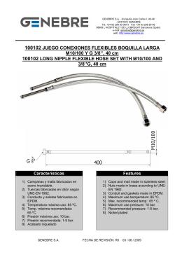 40 cm 100102 LONG NIPPLE FLEXIBLE HOSE SET WITH M10/100