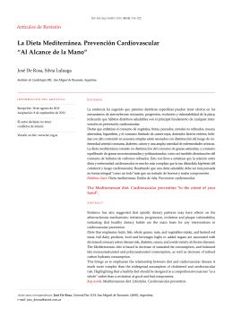 """La Dieta Mediterránea. Prevención Cardiovascular """"Al Alcance de la"""