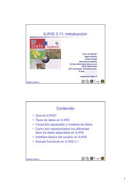 ILWIS 3.11: Introducción Contenido