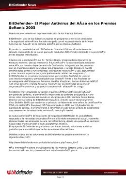 BitDefender- El Mejor Antivirus del Año en los Premios Softonic 2003