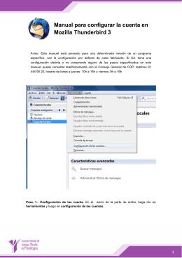 Manual para configurar la cuenta en Mozilla Thunderbird 3
