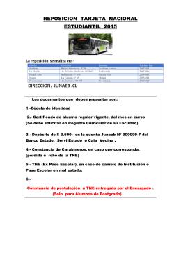 reposicion tarjeta nacional estudiantil 2015 direccion: junaeb .cl