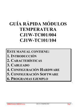 GUÍA RÁPIDA MÓDULOS TEMPERATURA CJ1W-TC001