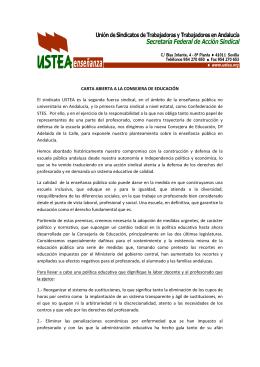 CARTA ABIERTA A LA CONSEJERA DE EDUCACIÓN El