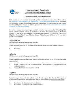 International Academic Credentials Resource Sheet