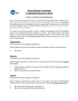 International Academic Credentials Resource Sheet