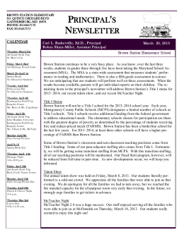 PRINCIPAL`S NEWSLETTER - Montgomery County Public Schools