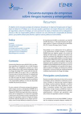 Encuesta europea de empresas sobre riesgos nuevos y