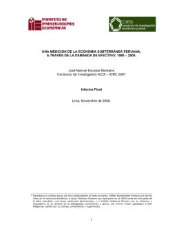 Una medicion de la economia subterranea Peruana a través de la