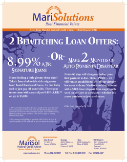 2 Bewitching Loan offers: - MariSol Federal Credit Union