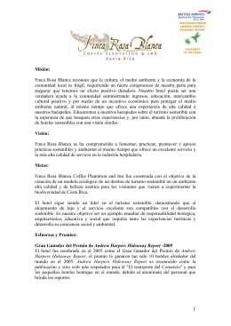 Misión: Finca Rosa Blanca reconoce que la cultura, el medio