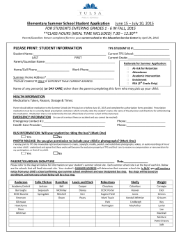 Elementary Summer School Student Application June 15