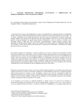 I . ALGUNOS REFERENTES HISTORICOS, CULTURALES Y