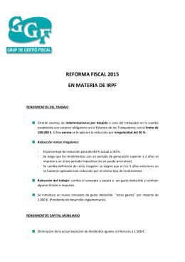 REFORMA FISCAL 2015 EN MATERIA DE IRPF