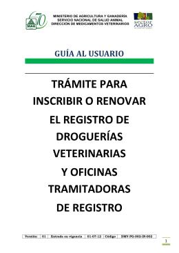 trámite para inscribir o renovar el registro de droguerías veterinarias