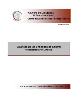 Balances de las Entidades de Control Presupuestario Directo