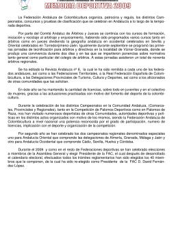 Memoria Deportiva 2009 - Federación Andaluza de Colombicultura