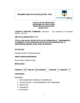 RAE TESIS Gilma Camargo - Universidad Católica de Colombia