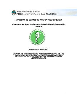 R.M. 428/2001 - Ministerio de Salud