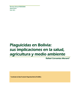 Plaguicidas en Bolivia: sus implicaciones en la salud