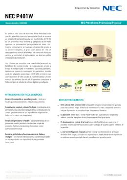 Especificaciones técnicas Proyector NEC P401W