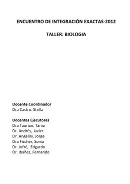 ENCUENTRO BIOLOGÍA 2012 - Facultad de Ciencias Exactas