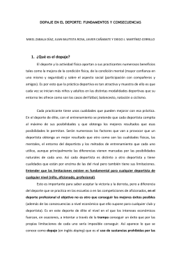 04/12/2011 Dopaje en el deporte: Fundamentos y