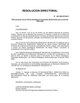 Resolución Directoral Nº 003-2003