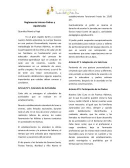Reglamento Interno de Padres. - Sala Cuna & jardín Infantil