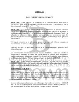 ORDENANZA TARIFARIA - Municipalidad de Almirante Brown