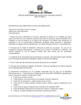 Requisitos para obtener Licencias de Operación Agencia de Viajes